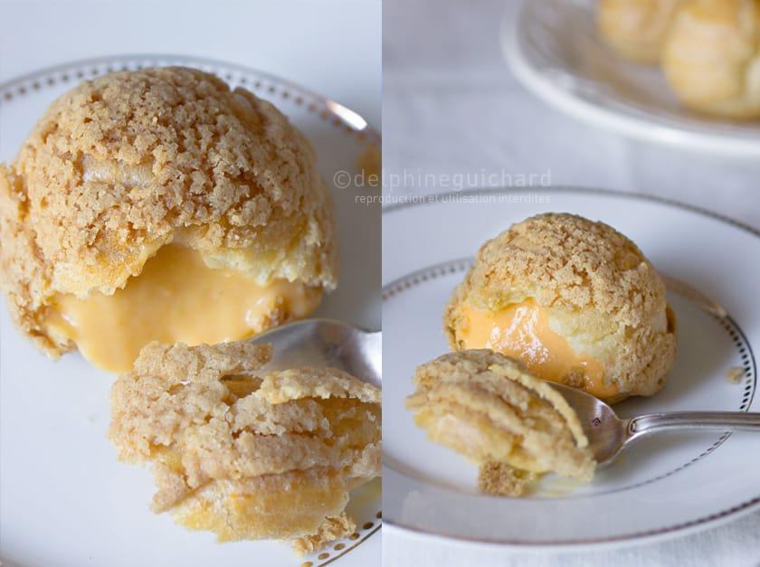 Choux à la crème de patate douce et rhubarbe