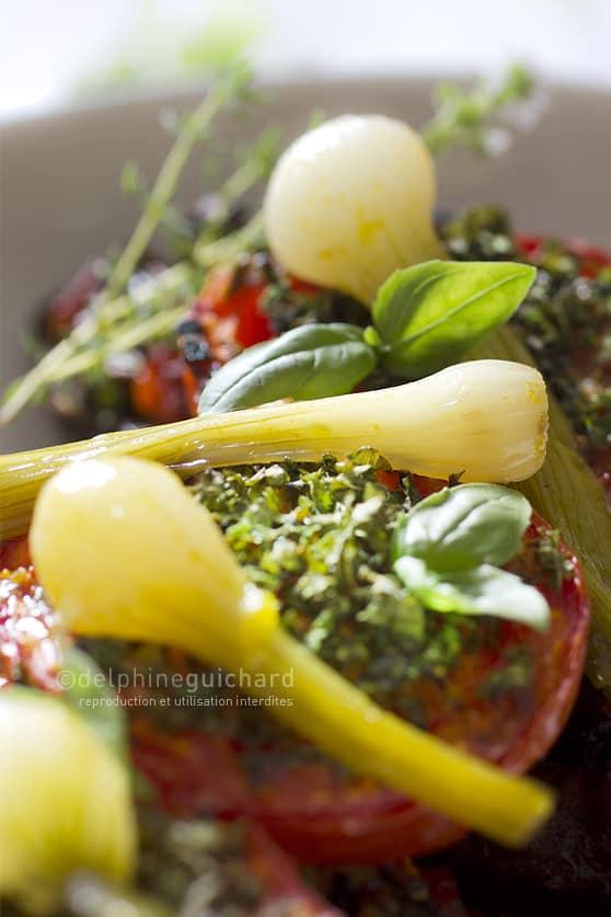 Aubergines farcies, légumes et champignons