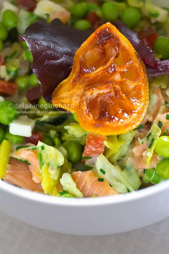 Salade de petits pois, saumon et petits pois