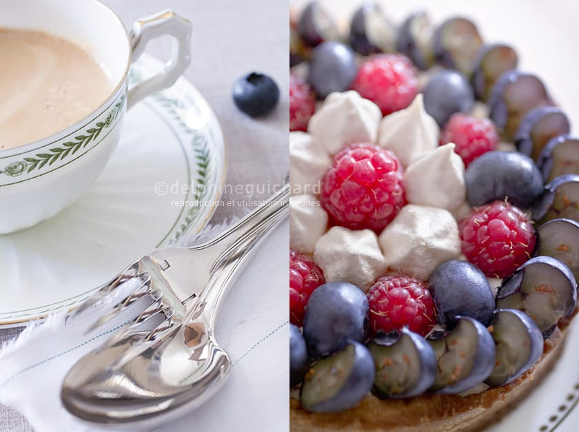 Tarte aux myrtilles, framboises et meringues