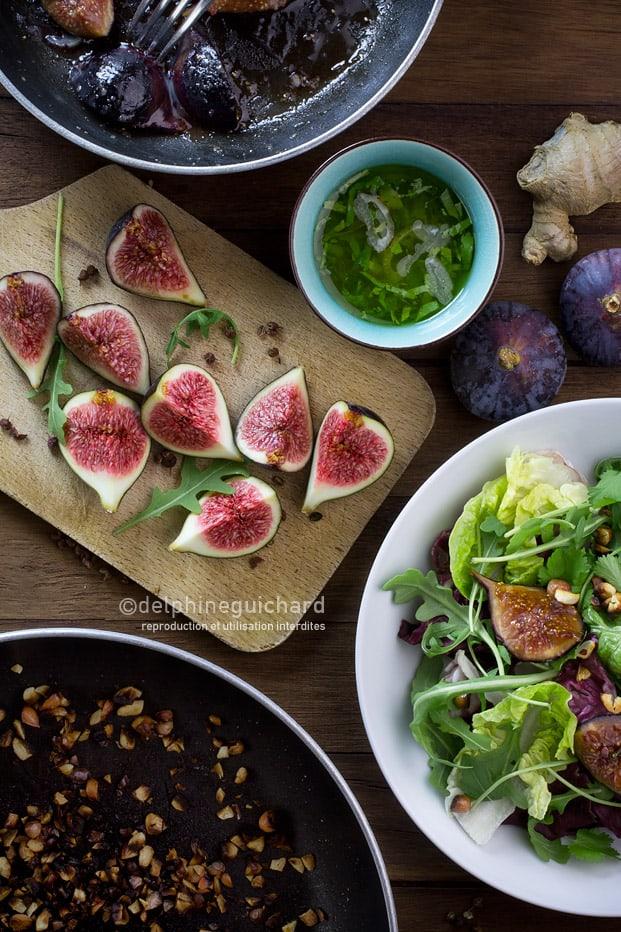 Figues fraîches et rôties en salade
