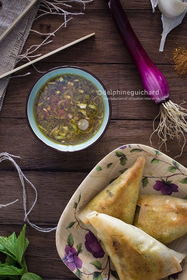 Samoussa de bœuf et sauce au pamplemousse - Beef samosas ans pomelo sauce