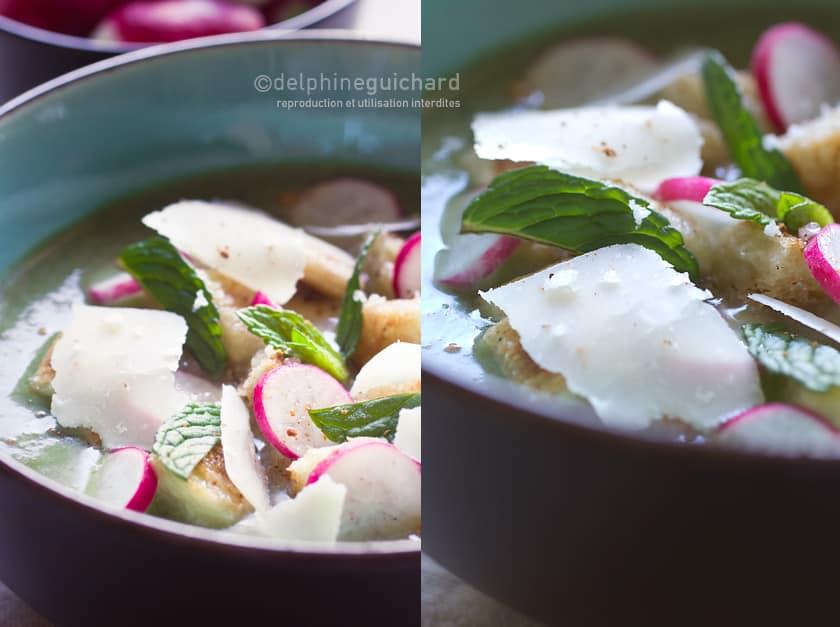Un velouté de fanes de radis relevée par le pep's du gingembre et la fraîcheur de la menthe ; à déguster chaude ou froide, ou même en sauce sur la volaille.
