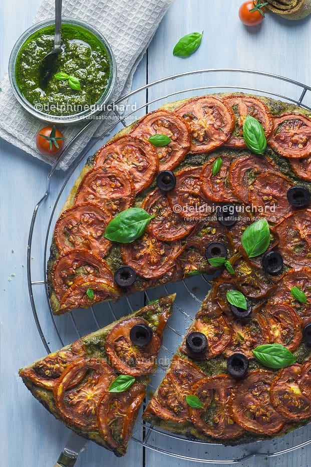 Tarte aux tomates rôties et basilic