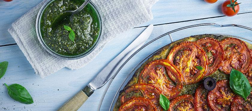 Tartes aux tomates rôties et basilic